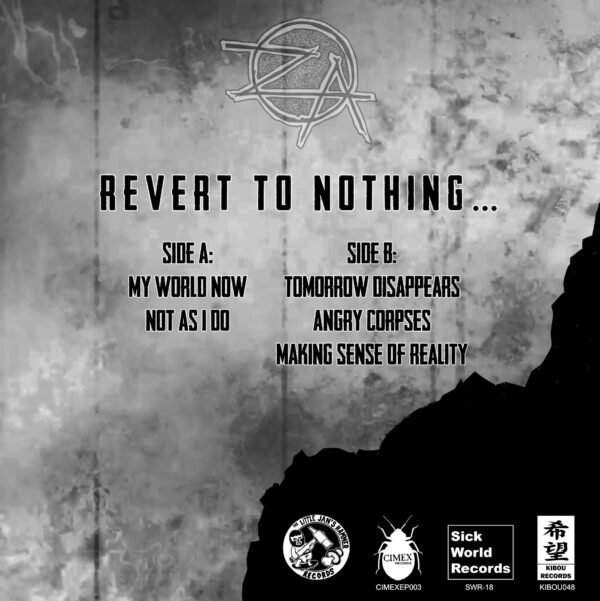 Zero Again and 'Revert To Nothing' back cover
